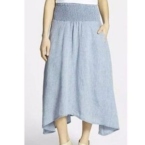 Eileen Fisher sz M chambray Organic linen skirt